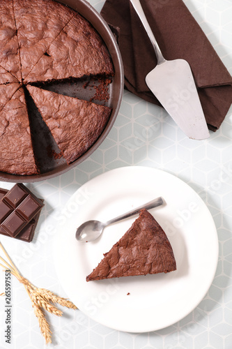 chocolate pie slice, top view Canvas Print