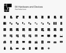 58 Hardware And Devices Pixel Perfect Icons (Filled Style). Vector Icons Of Smartphone, Tablet, Server, Computer, Cloud Computing, And Technology Devices.