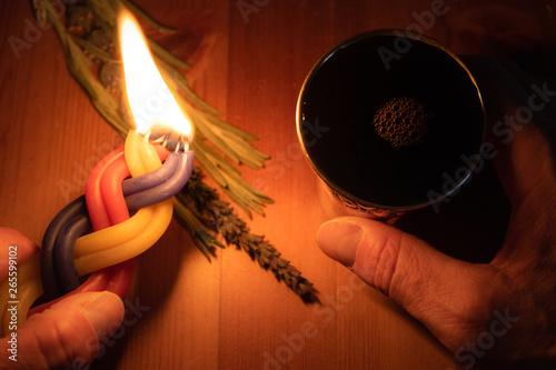 Fotografie, Obraz A Havdalah candle, wine cup and fragrant plant for the Havdala blessing after Sh