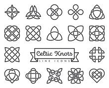 Celtic Knots Vector Line Icons Set