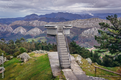 Fito viewpoint in Sierra del Sueve mountains, part of Cantabrian Mountains in Spain