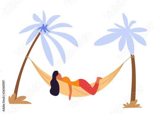 Fotografie, Obraz Woman lying in hammock under palms isolated character