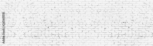 Fond de hotte en verre imprimé Brick wall Whitewashed old brick wall wide background. White washed brickwork panoramic backdrop