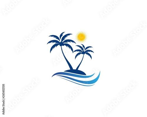 Palm tree summer logo template Wall mural