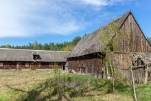 Desolate Farm Buildings In Forest Complex Called Kampinos Near Warsaw, Poland