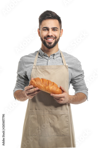 Stampa su Tela Baker with fresh bread on white background