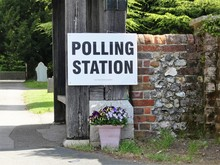 UK Polling Station Sign At Chu...