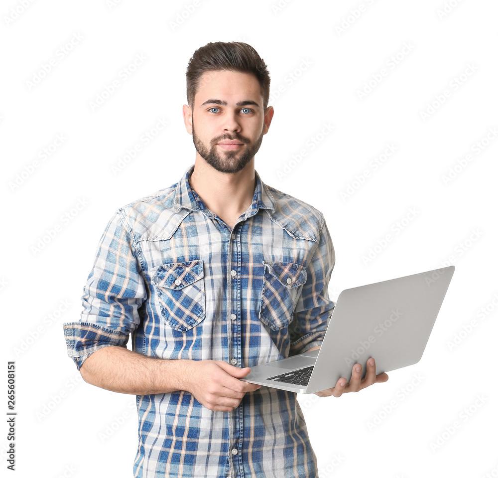Fototapeta Male programmer with laptop on white background
