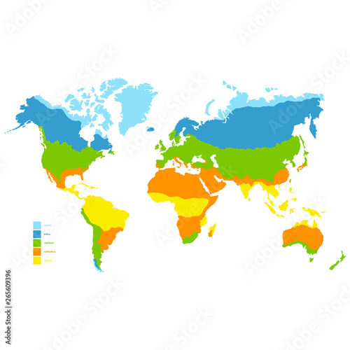 Fotografie, Obraz  vector world map with climate zone