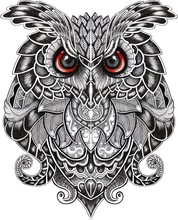 Eagle Owl. Birds. Black White Hand Drawn Doodle. Ethnic Patterned Illustration. African, Indian, Totem, Tribal, Design. Sketch For Adult Antistress Coloring Page, Tattoo, Poster, Print, T-shirt