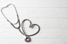Stethoscope On Color Background. Health, Medicine