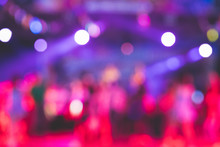 Beautiful Blurred Images Of Stage Performances At Night With Lights From A Variety Of Beautiful Spotlights.