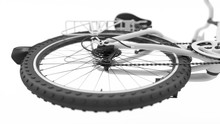 Rear Wheel Of A White Bicycle Close-up, 3d Illustration