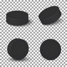 Hockey Pucks Isolated On Trans...