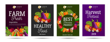 Healthy Food And Vegetebles Posters Set With Illustration