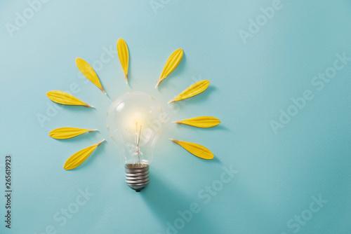 Fototapeta Creative idea, Inspiration concept with light bulb on blue background obraz