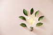Leinwandbild Motiv Eco green energy concept bulb, lightbulb leaves on pink background.