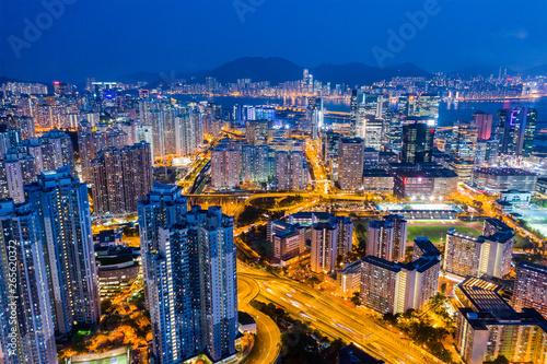 Poster Lieu connus d Asie Aerial view of Hong Kong city at night
