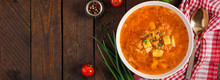 Traditional Russian Soup With Cabbage - Sauerkraut Soup - Shchi. Banner. Top View