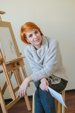 Young Attractive Woman Draws B...