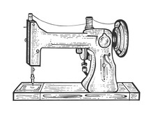 Old Mechanic Sewing Machine Sketch Engraving Vector Illustration. Scratch Board Style Imitation. Black And White Hand Drawn Image.