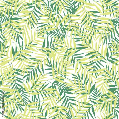 Ingelijste posters Tropische Bladeren Vector green palm leaves seamless pattern background.