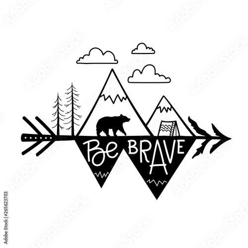 Fotografie, Obraz  Vector illustration with mountains, pine trees, clouds, touristic tent and black bear on arrow