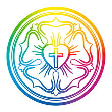 Luther Rose Symbol. Rainbow Co...