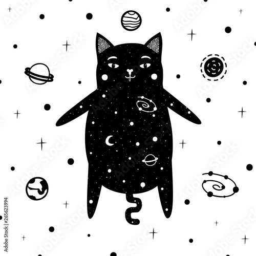 Fotografie, Obraz  Vector illustration with a cat in space, which also consists of stars and planets