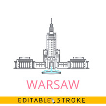 Warsaw Poland Palace Of Culture And Science. Easy Editable Stroke Thin Line Icon.