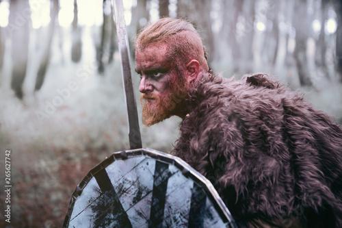 Fototapeta  Terrifying viking prepared for the fight