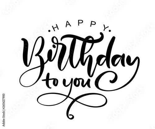 Valokuva Vector illustration handwritten modern brush lettering of Happy Birthday text on white background