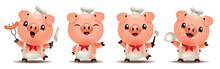 Cartoon Cute Pig Chef Mascot S...