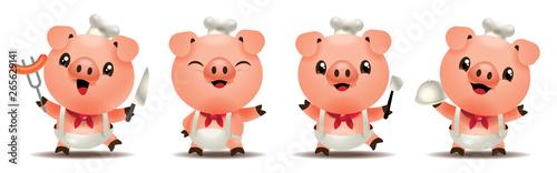 Cartoon cute pig chef mascot series Wallpaper Mural