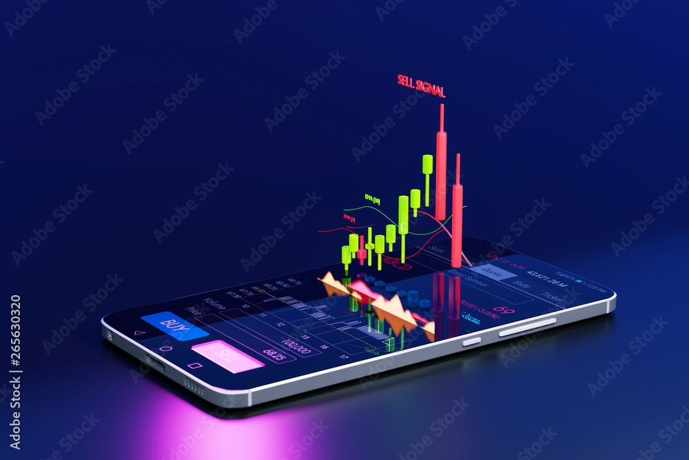 Fototapeta Stock Signal, Buy Signal, Sell Signal, Mobile foreign exchange trading - 3d render