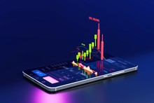 Stock Signal, Buy Signal, Sell Signal, Mobile Foreign Exchange Trading - 3d Render