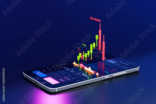 Leinwand Poster Stock Signal, Buy Signal, Sell Signal, Mobile foreign exchange trading - 3d rend