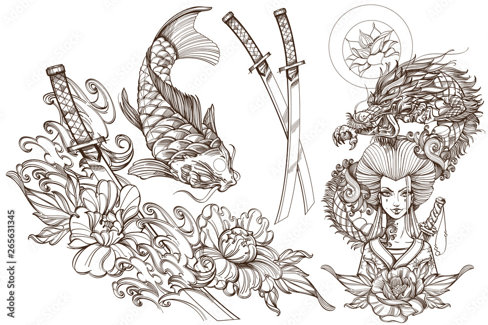 Fototapeta Contour image of asian woman in a kimono and dragon. Beautiful template for posters or leaflets with a girl samurai. A set of outline illustrations with sketches of tattoos.