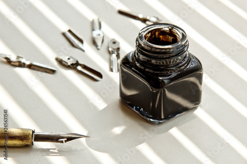 Inkpot with metal tips for the ink pen on a white background in solar rays Tapéta, Fotótapéta