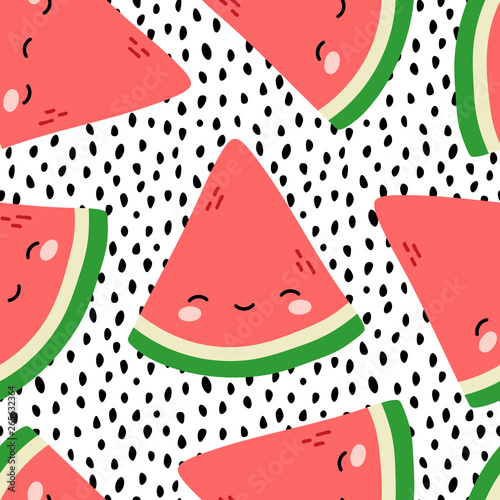 fototapeta na ścianę Watermelon Cute Face Seamless Pattern Background, Vector illustration