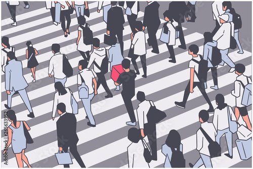 Illustration of busy city crowd crossing zebra Fototapeta