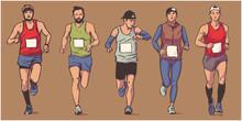 Isolated Illustration Of Marathon Long Distance Runners