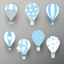 Collection Of Hot Air Balloons. Cute Baby Illustration. Vector Travel Concept. Icon Design, Wall Stickers, Design For Kids. Vector Illustration.