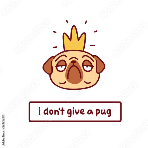 Photo cartoon pug dog i crown character vector illustration with hand drawn lettering