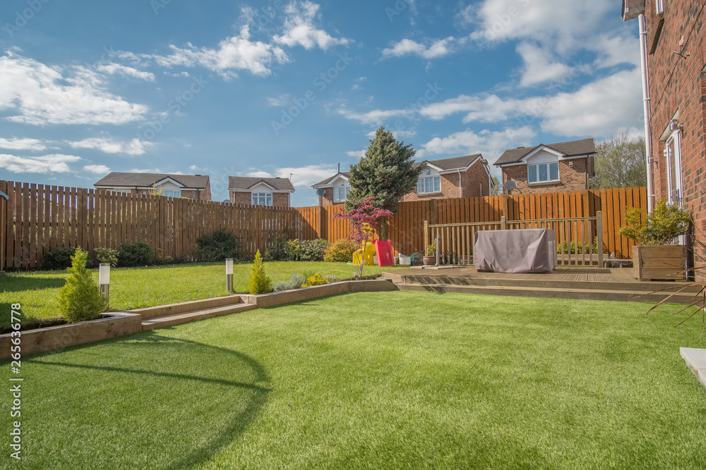 Fototapety, obrazy: Modern Garden Designed and landscaped with newly Constructed Materials.