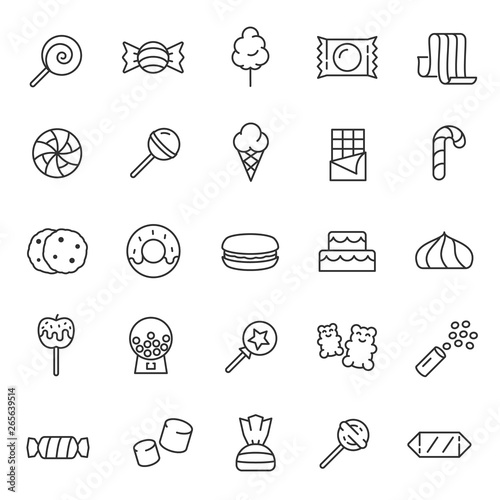 Canvas-taulu Candy, confectionery, icon set