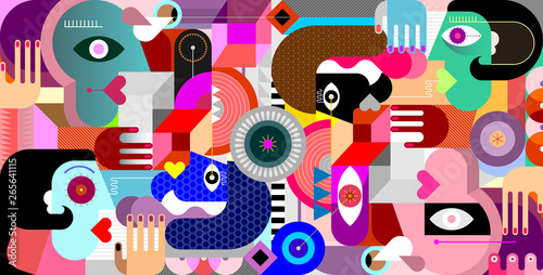 Abstract Geometric Style Group of People