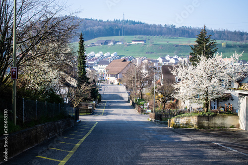 Lausen, BL, Switzerland - 23.03.19. Village close to Basel. Bright morning with street, Lidl, super market , field, trees, etc.