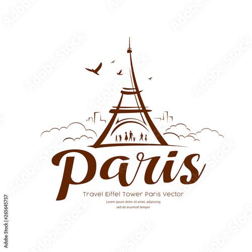 Cuadros en Lienzo Eiffel tower Paris sketching vector design background, illustration