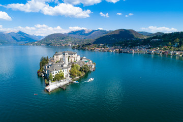 Aerial view of Lake Orta in northern Italy, island of San Giulio on a sunny day.
